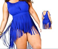 Além de roupas de banho de moda de tamanho Preços-Hot Moda Swimsuit 2015 Plus Size Franja Swimwear Mulheres One Piece Tassel Swimsuit Sexy Bra Push Up Praia Underwear Halter trajes de banho
