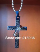 bible verses free - Vintage Silver Titanium Steel Charms Bible Verses Blue Crucifix Necklace Pendant Jewelry N1205