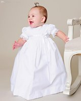 baptismal dress - Vintage Baptismal Communion Dresses Ivory White Half Sleeve Full Length Lace Appliques Satin Silk Christening Gowns with Bow