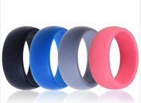 Wholesale HOT Men Women Silicone Wedding Ring Black Grey Blue Band Rubber Ring for For Sports Enthusiast Active Men Dhl