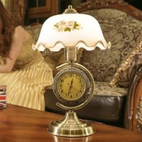 glass table clock - 1 piece American retro adjustable light table lamp with a clock Chinese style glass lampshade desk lamp Bedroom bedside lamp