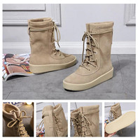 best plain fabric - With Box Best version Kanye West Season Boots High footwear sneaker Men shoes season Boost Martin boots Fast Shipping