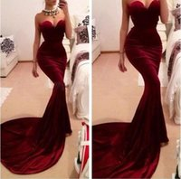 black velvet dress - Burgundy Mermaid Evening Dresses Cheap Sexy Backless Court Train Velvet Prom Gowns Robe de Soiree Party Dresses Custom Vestido de Festa