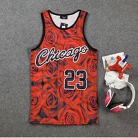 Wholesale 2016 Men Hip Hop Basketball Vest Tank Tops Red Rose Gym Running Short Sleeves T Shirts Size M XXL Mix Order Accepted DF