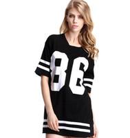 Acheter Robe 86 de base-ball-2016 Summer Women Celebrity 86 imprimé vestidos Rock Hip Hop Amérique Baseball Long T-shirt Top manches courtes Mini Casual Dress