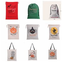 Wholesale Christmas large bag Halloween Large Canvas bags Drawstring Bag With Pumpkin devil spiderHallowmas Gifts Sack Bags Christmas Sack Bag KKA790