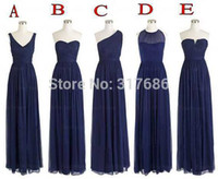 good evening - 5 Styles Wedding Party One Shoulder Chiffon Floor Length Long Navy Blue Bridesmaid Dresses Vintage Goods S23
