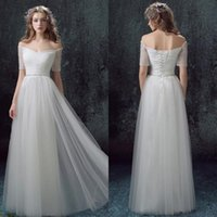 Wholesale Elegant White Tulle In Stock Wedding Dresses Sparkly Crystal Bridal Gowns Sexy V Neck Half Sleeve Lace Up Back Floor Length Custom Made