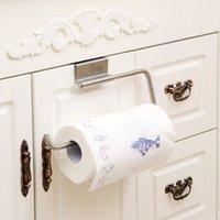 Wholesale New stainless steel paper towel roll holder Cabinet Cupboard Door Hanging Rack shelf toilet paper holder kitchen accessories