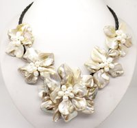 baroque freshwater cultured pearl necklace - cheap Classic baroque freshwater cultured pearl shell flower leather weave necklace