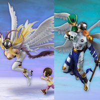 action figure digimon - 20 cm Digimon Adventure Angewomon Hikari Angemon Takeru Ver PVC Action Figure Collectible Model Doll Toy New Hot