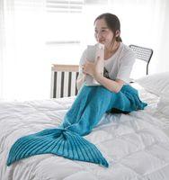 Wholesale birthday present Mermaid Tail Blanket Super Soft Hand Crocheted cartoon Sofa Blanket air condition blanket siesta blanket CM