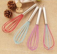 Wholesale Free quot silicone coated egg whisk Beater eggbeater stainless steel handle kitchen gadget