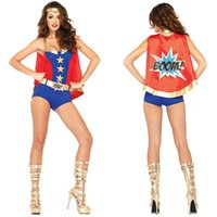 Wholesale New Fashion Sexy Adult Wonder Woman Costumes With Capes Halloween Carnival Superman Superhero Cosplay Women Game Uniform S40