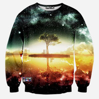 Wholesale Space galaxy d sweatshirt men d hoodies harajuku style funny print nightfall trees sudaderas hombres