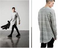 designer clothes for men - New kpop hipster streetwear designer long sleeve longline extended t shirt grey extra long tee shirts for men clothes