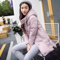 Wholesale 2016 Winter New Korean Fashion Hooded Long Feather Coat Girl