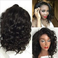 Wholesale Unprocessed Lace Front Wig Glueless Full Lace Wigs Baby Hair A Top Quality Water Wave Braziolian Short Human Hair Wigs For Black Women