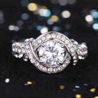 Wholesale Women Silver Wedding Topaz Rings Accessorie With CZ Diamond Luxury Jewelry Fashion Korean Aneis Female Hot Sale rj024