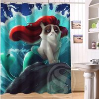 Wholesale 2015 NEW style Custom Bad tempered cat waterproof seaside scenery Shower Curtain quot x quot bathroom decoration