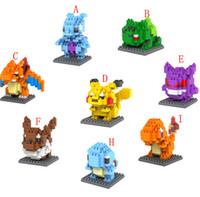 Wholesale Poke Go Figure Minifigure Building Blocks DIY Pikachu Squirtle Model Toys Miniature Diamond Brick rtoon Superhero deadpool DIY Bricks Toys B