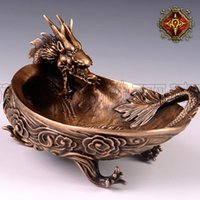clam - OGRM Crafts China Dragon Ashtray Handmade Bronze Casting Dragon Wave Clam Ashtray Limited Edition Handicrafts Collectible