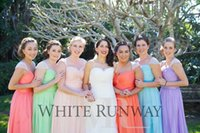 Wholesale New A line aqua turquoise bridesmaids dresses in lavender colorful Sleeves Cheap Chiffon long evening dressess grace karin QW727