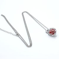 Wholesale Charms Silver Rose Flower Hollow Star Cage Locket Fragrance Essential Oil Aromatherapy Diffuser Pendant Necklace Womens Jewelry