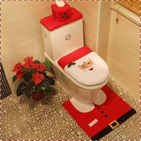 Wholesale New Hot Happy Pieces Santa Toilet Seat Covers And Rug Bathroom Sets Christmas Decorations Holiday Party Supplies MC0324