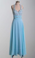 affordable vintage fashion - Affordable Price Halter Beaded Appliques Sequins Prom Gowns Light Sky Blue Backless Fashion