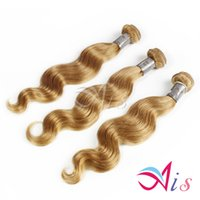 7a cheveux bruns du corps brésilien achat en gros de-12-28inches non transformés péruvienne miel brésilienne Blode cheveux pleine tête 7A Strawberry Blonde Body Wave Tissages 3pcs / lot Human Hair-extensions