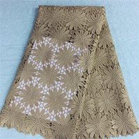 Cheap 2016african lace Nigerian stretch lace fabric 5 yards Newest High quality Guipure lace fabric for wedding dress HR3-63