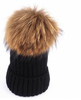 Wholesale mink and fox fur ball cap winter hat for women girl s wool hat knitted cotton beanies cap brand new thick female cap