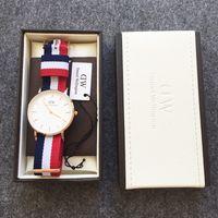 mens gold watches - 40mm Men s Sports Watch Top Brand Luxury Mens Watches Rose Gold Quartz Watch Nylon DW Watch erkek kol saati Watch Box Manual Tag