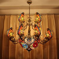 Wholesale Creative Stained Glass LED Pendant Light American Tiffany Chandelier Lamp Living Room Pendant Light Bilayer Butterfly