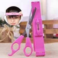 Wholesale Hot selling Pink Hair Cut Tools Women Artifact Style Cutting Thinning Scissor set Bangs Layers Style Scissor Clipper