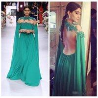 Árabe India vestidos de encargo 2016 de la celebridad de Dubai de noche formal del partido con el cabo de la gasa verde de encaje vestido de fiesta largo atractivo de ojo de cerradura Volver