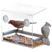 Wholesale Window Bird Feeders CLEAR GLASS WINDOW VIEWING BIRD FEEDER HOTEL TABLE SEED PEANUT HANGING SUCTION