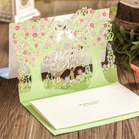 Wholesale Laser Cut D Green Color Wedding tree design Wedding Day Invitation Card with Envelope Seal and Inner Sheet