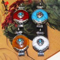beeswax pearls - pearl inlaid Turquoise Nepal Tibetan beeswax Coral Pendant DIY Tibetan ethnic jewelry accessories