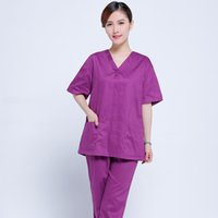 Wholesale 2016 new women doctor scrub sers purple hospital work clothing excellent nurse medical uniform thermostability OEM pure colour