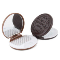 Wholesale Fashionable Cute Cookie Shaped Design Mirror Makeup Chocolate Comb mirror comb set comb wool