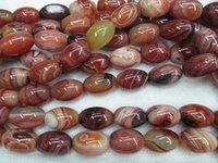 Un ágata ónix barril de la piedra preciosa de arroz + grado de tambor venas azules cereza verde rojos granos de la joyería collar de cadena completa mixtos 20x28mm