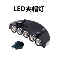 Wholesale New Arrival Camping Fishing Clip Hat Cap Light Lamp Headlamp riding LEDS head lamps torch