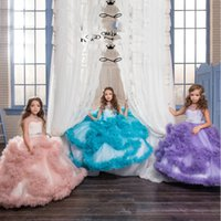 Wholesale Ball Gown Flower Girls Dresses Sheer Crew Neckline Crystal Ruffle Feather Tiered Little Girls Pageant Dresses Adorable