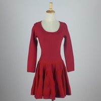 ala a m - ALA style new Top Quality Knitting wide swing A line knitting slim waist black red long sleeve dress