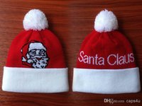 album sales - On Sale Christmas Santa Claus Red White with Pom for Children winter Knitted hats baseball basketball football teams beanies Albums offered