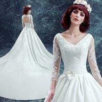 Wholesale Elegant Ivory V Neck Satin Long Sleeve Wedding Dresses Bridal Dresses wedding attire dress Custom Size W825003 Free Gift