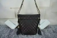 Wholesale New Hot sell women classic shoulder bag fashion famous brand Drawstring handbags black gold chain