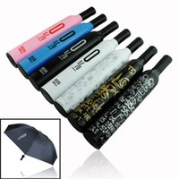 Wholesale In business STYLES RED WINE BOTTLE STYLE FOLDING UMBRELLA FashionThree Folding Wine Bottle Sun rain Umbrella Black
